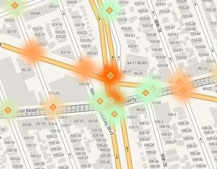 Heat map Cross Bay Blvd and Liberty Ave