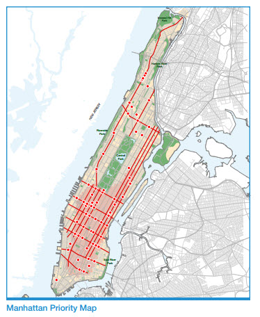Manhattan pedestrian safety map