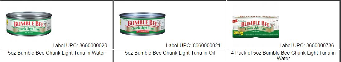 Bumble Bee product recall