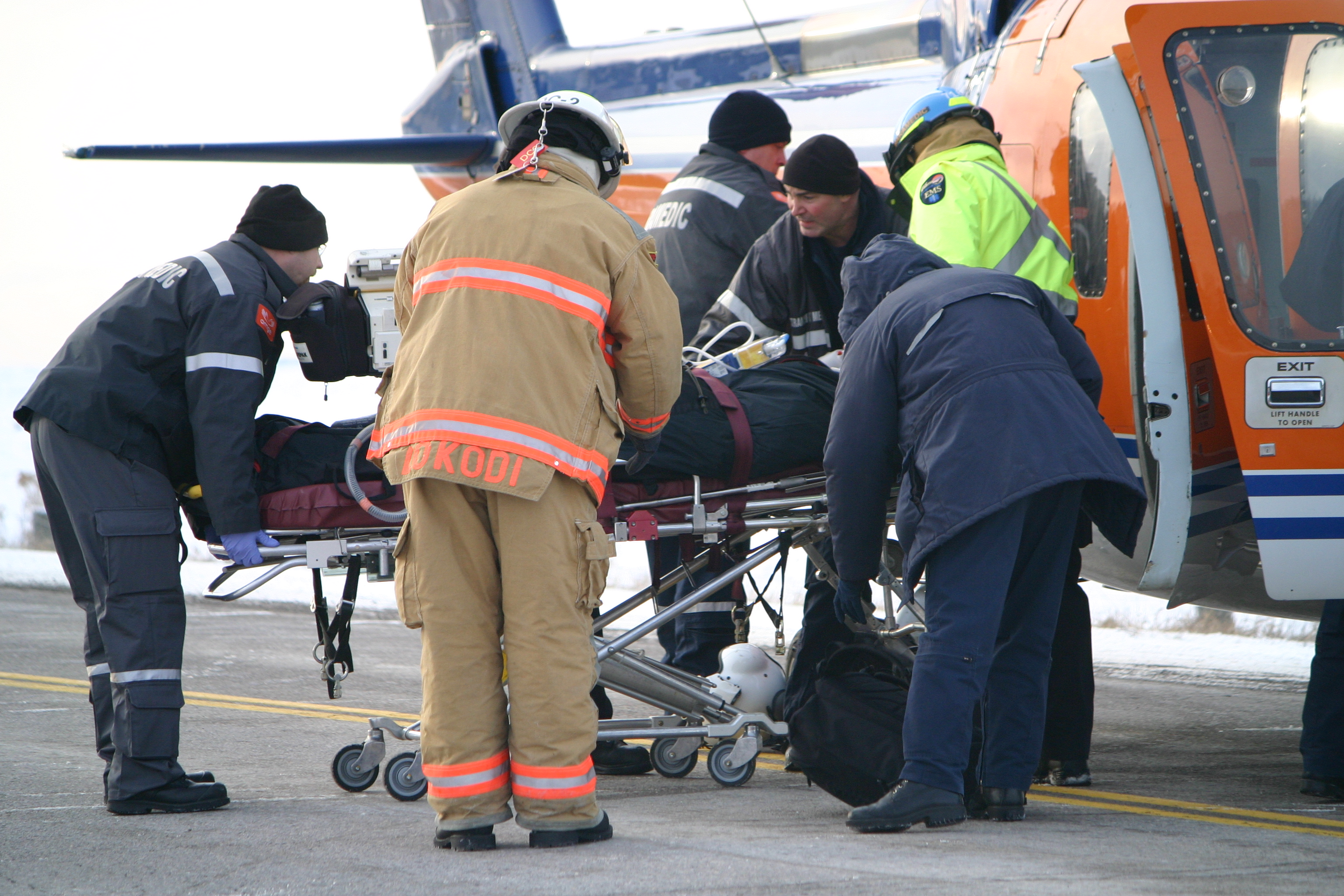 A woman is loaded into an air ambulance that landed on Ski Hill Rd. after a head-on crash near Lifford Rd. on Thursday, Jan. 6, 2011. She was flown to Toronto's Sunnybrook hospital with serious, life-threatening injuries. Another woman was also airlifted to the same hospital with serious injuries. JASON BAIN/THE LINDSAY POST/QMI AGENCY