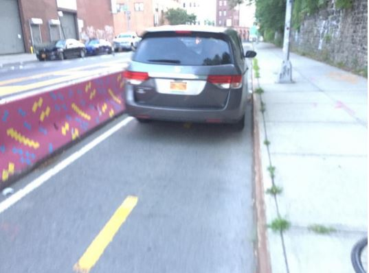 car in bike lane