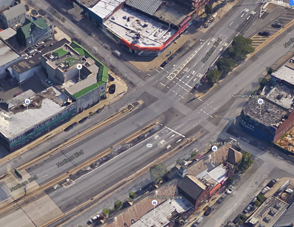 Northern Boulevard and Prince aerial view