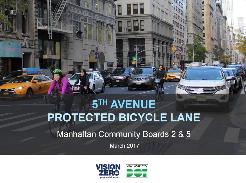 cover of the NYC DOT Fifth Ave protected bike lane proposal