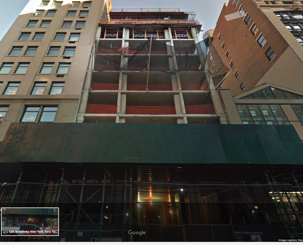 location opf the construction accident at 688 Broadway