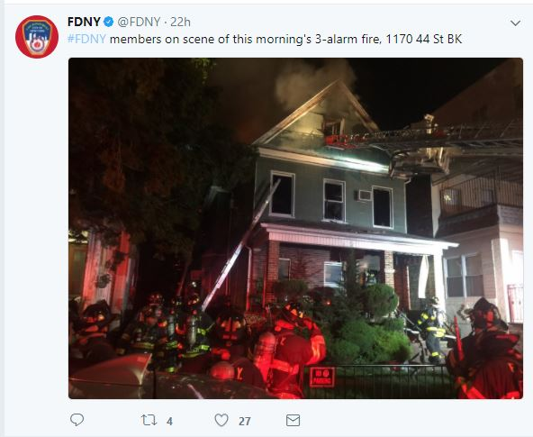 FDNY fighting NYC home fire