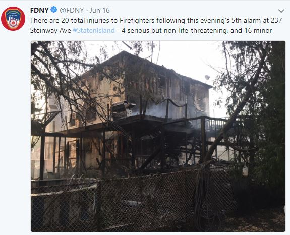 Staten Island fire injured 20 firefighters