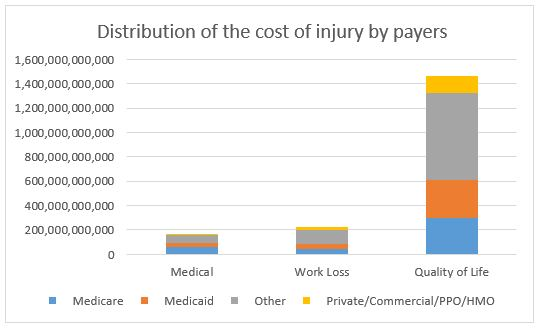 Distribution of the cost of injury by payers