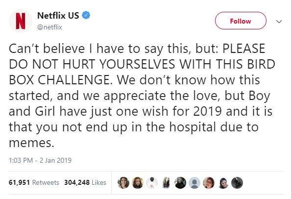 Netflix notice to prevent injuries