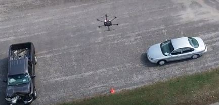 drone assessing crash scene