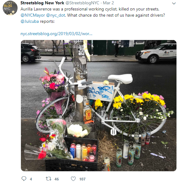 memorial for NYC victim of bike accident