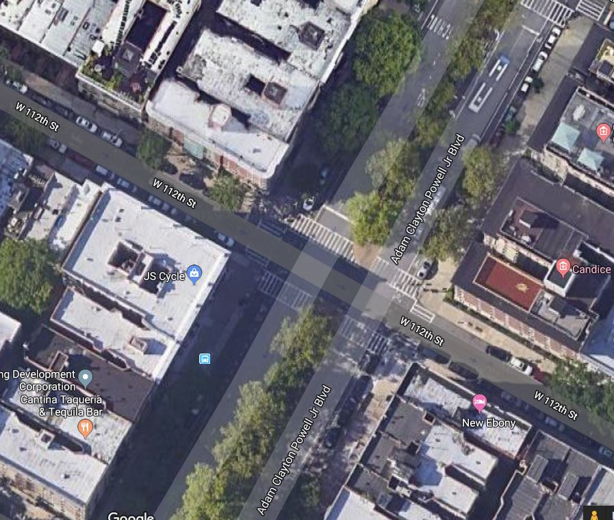 Location of the fatal pedestrian accident in Harlem