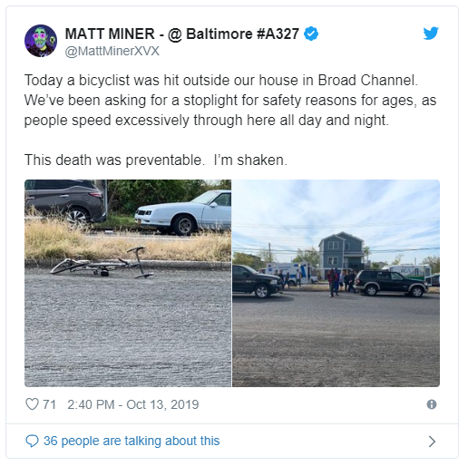 Broad Channel fatal bicycle accident Tweet