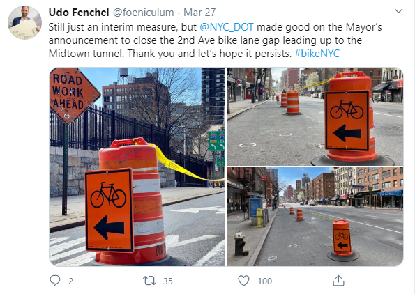 new bike path in NYC during covid-19