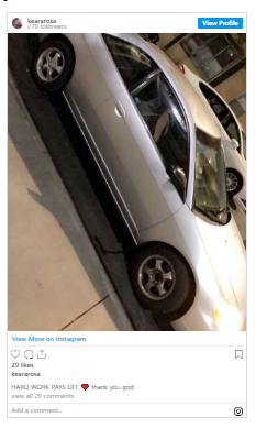 the victim posted a picture of her car on IG