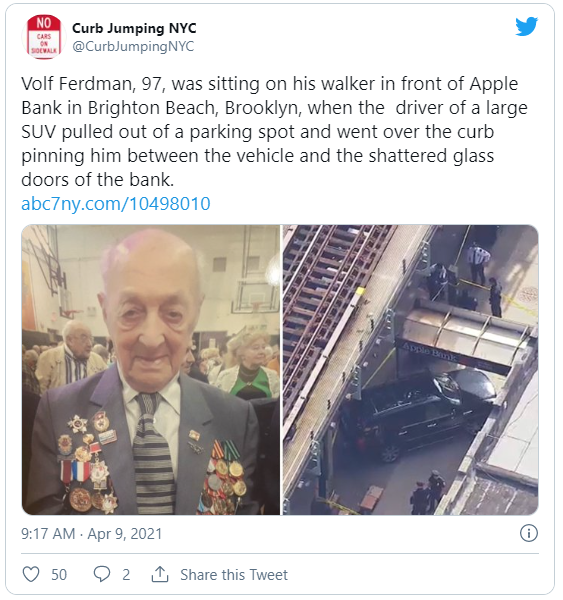 tweet about pedestrian crushed by car in NYC