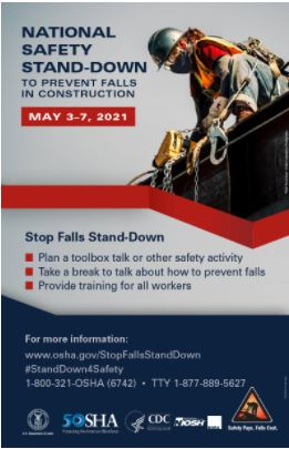 Safety Stand down to prevent fall in construction 2021